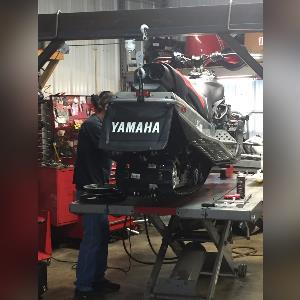 Service work being done at Cycle Sport Yamaha Located at Hobart, Indiana